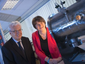 Professor Jim Mclaughlin with Minister Arlene Foster at this morning's launch of the £7m Connected Health Innovation Centre (CHIC) at the University of Ulster